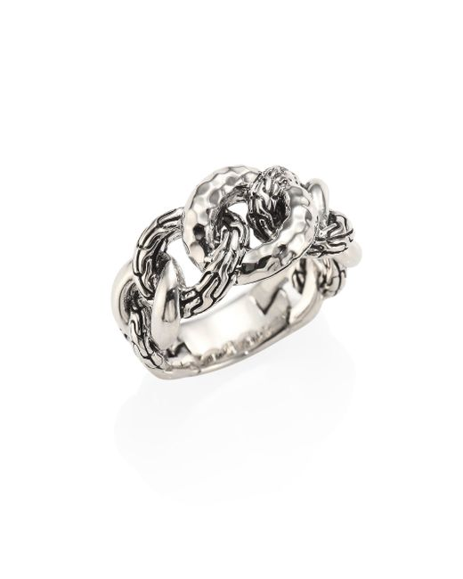 John Hardy - Metallic Classic Chain Small Hammered Sterling Silver Link Ring - Lyst
