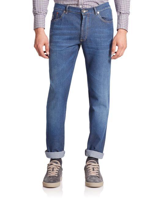 Brunello Cucinelli - Blue Lightweight Skinny-leg Jeans for Men - Lyst