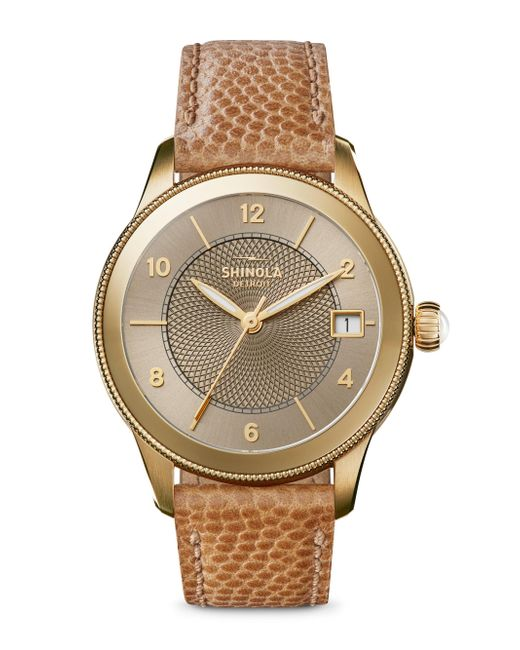 Shinola | Metallic The Gail Pvd Gold & Leather Strap Watch | Lyst