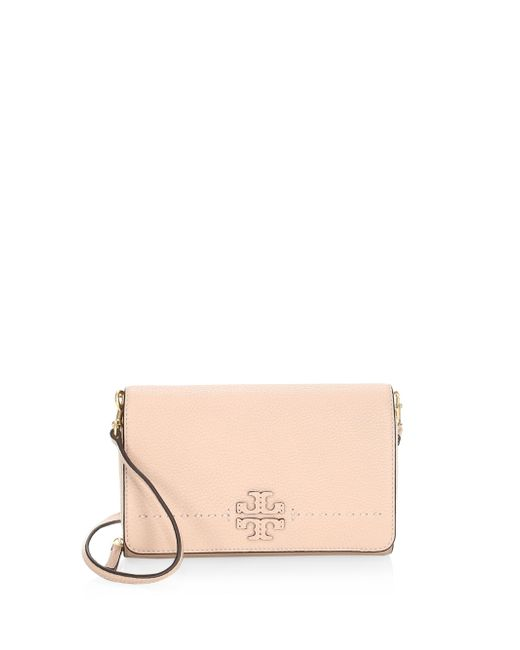 Tory Burch - Natural Mcgraw Flat Leather Crossbody Wallet - Lyst