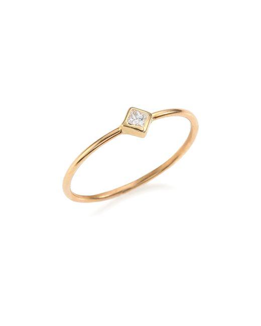 Zoe Chicco - Metallic Diamond & 14k Yellow Gold Solitaire Ring - Lyst