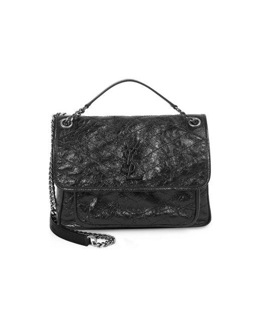 Saint Laurent - Black Medium Niki Crinkle Leather Nickel Hardware Flap Bag  - Lyst 004e4ef80f