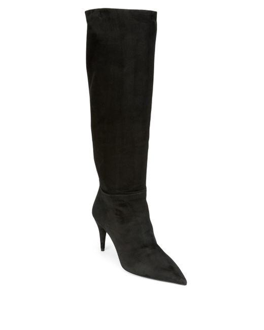 Prada - Black Slouchy Suede Boots - Lyst