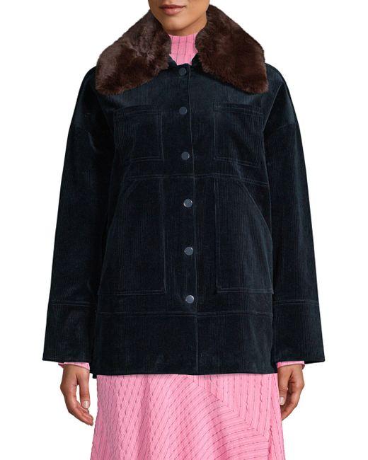 Ganni - Black Ridgewood Faux-fur Collar Corduroy Jacket - Lyst
