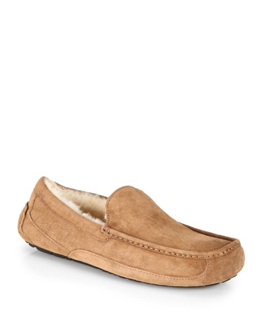 Ugg | Brown Ascot Suede And Shearling Slippers | Lyst