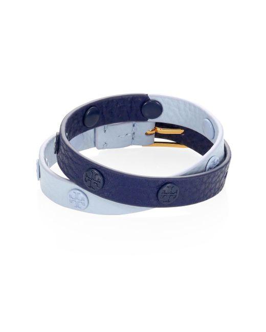 Tory Burch | Blue Double-wrap Logo Stud Colorblock Bracelet | Lyst