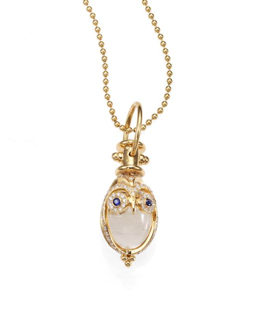 Temple St. Clair | Metallic Tree Of Life Rock Crystal, Diamond, Sapphire & 18k Yellow Gold Owl Amulet | Lyst