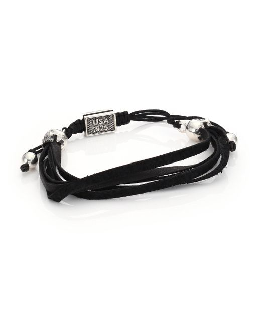 King Baby Studio - Black Macrame Leather Skull Bracelet for Men - Lyst