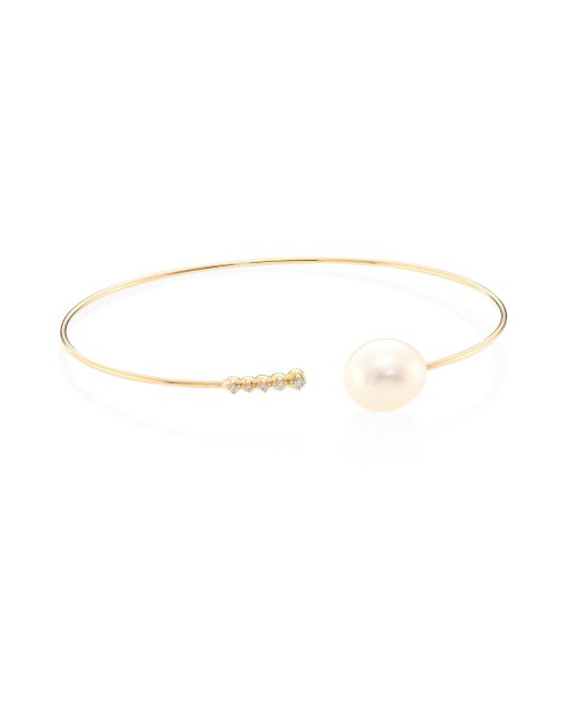 Mizuki | Metallic Diamond, 10mm White Oval Freshwater Pearl & 14k Yellow Gold Thin Cuff | Lyst