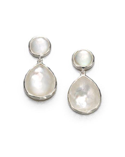 Ippolita - White Wonderland Mother-of-pearl, Clear Quartz & Sterling Silver Snowman Doublet Drop Earrings - Lyst