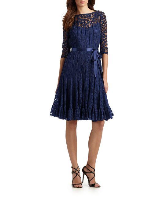 Teri Jon | Black Lace Pintuck Dress | Lyst