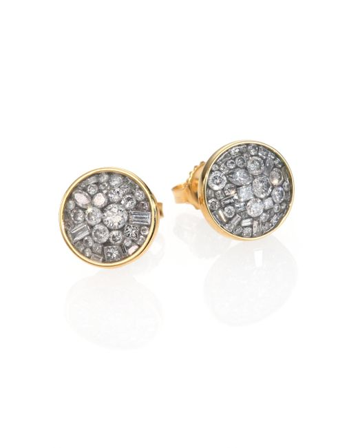 Plevé | Metallic Ice Diamond & 18k Yellow Gold Button Earrings | Lyst