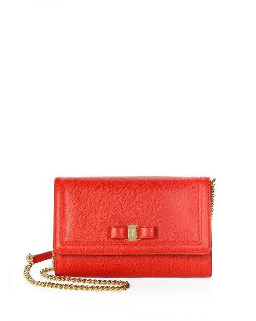 Ferragamo - Red Miss Vara Leather Mini Bag - Lyst