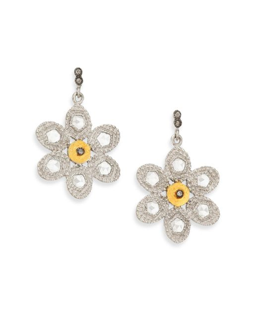 Coomi | Metallic Opera Diamond, Crystal, 20k Yellow Gold & Sterling Silver Flower Drop Earrings | Lyst