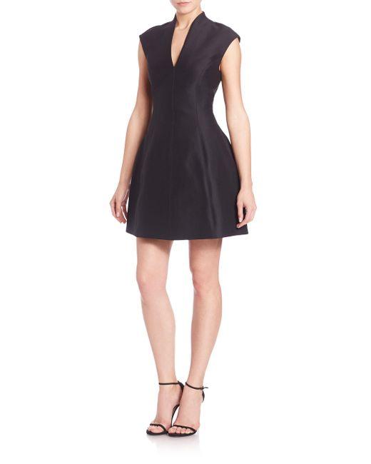 Halston Heritage - Black Faille Cap-sleeve Dress - Lyst