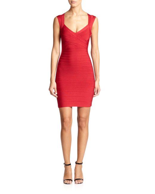 Hervé Léger - Red Cap-sleeve Bandage Dress - Lyst