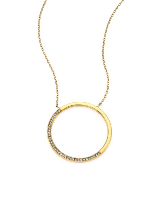 Michael Kors | Metallic Brilliance Circular Pave Pendant Necklace | Lyst
