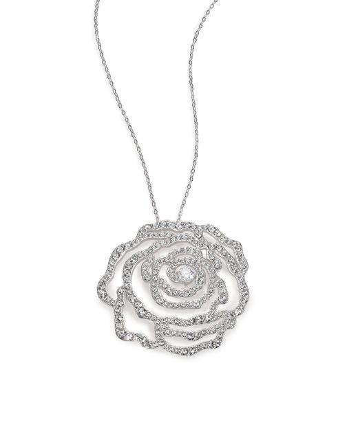 Adriana Orsini - Metallic Pave Crystal Rosette Pendant Necklace - Lyst