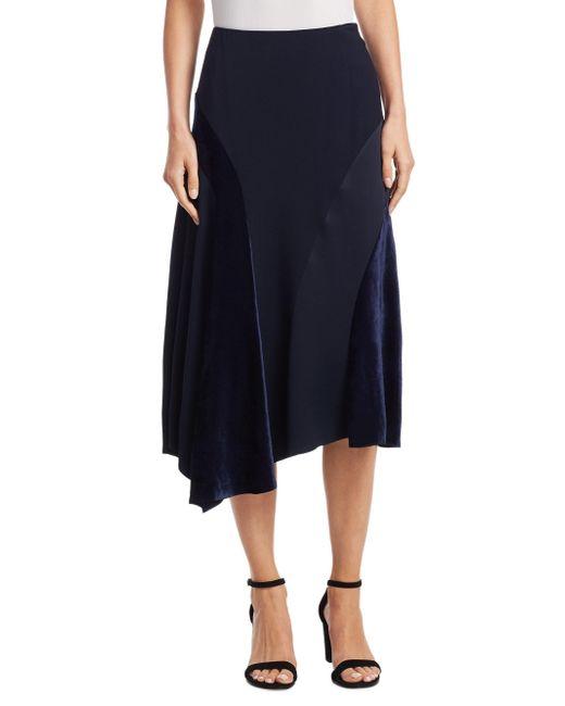 Akris Punto | Blue Velvet Inset Midi Skirt | Lyst