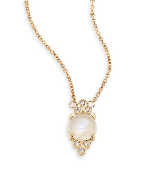 Jacquie Aiche | Metallic Diamond, Moonstone & 14k Yellow Gold Pendant Necklace | Lyst