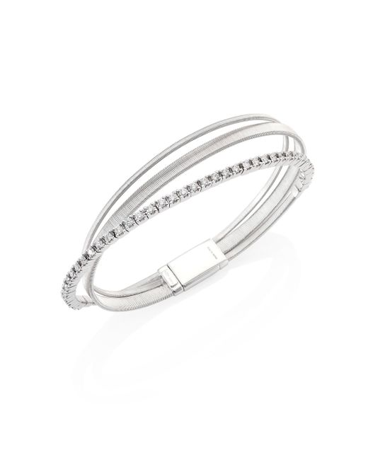 Marco Bicego | Metallic Masai Diamond & 18k White Gold Three-row Bracelet | Lyst