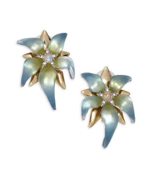 Alexis Bittar   Multicolor Lucite, Moonstone & Crystal Petal Clip-on Earrings   Lyst