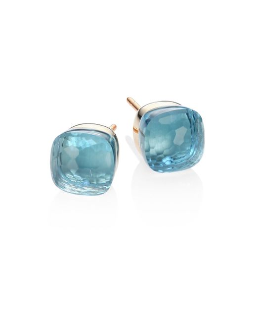 Pomellato - Blue Topaz, 18k Rose & White Gold Stud Earrings - Lyst