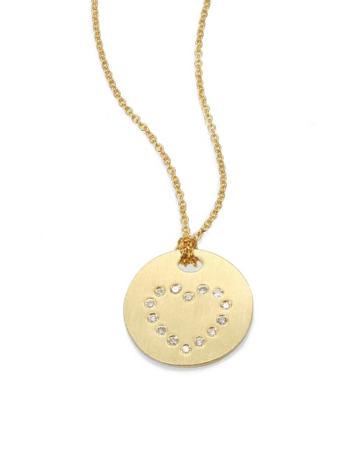 Roberto Coin - Metallic Tiny Treasures Diamond & 18k Yellow Gold Heart Disc Pendant Necklace - Lyst