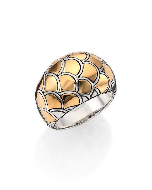 John Hardy - Metallic Naga 18k Yellow Gold & Sterling Silver Dome Ring - Lyst