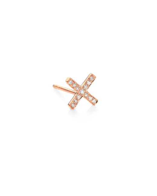 EF Collection - Metallic Diamond & 14k Rose Gold Single X Stud Earring - Lyst
