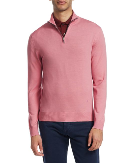 Isaia - Pink Half-zip Wool Sweater for Men - Lyst