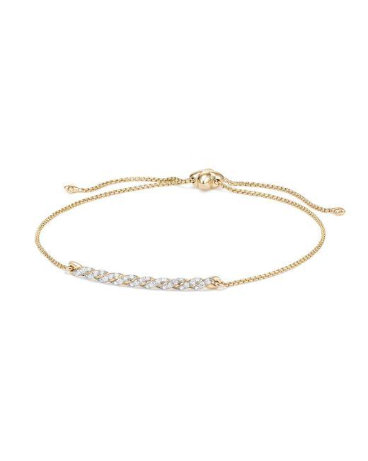 David Yurman - Metallic 18k Gold & Diamond Paveflex Station Bracelet - Lyst