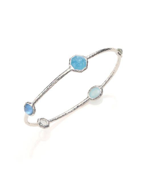 Ippolita - Metallic Rock Candy Larimar, Milky Aquamarine, Blue Topaz & Sterling Silver Five-stone Station Bangle Bracelet - Lyst