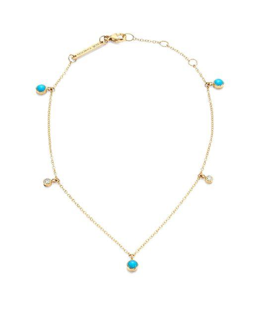 Zoe Chicco   Metallic Diamond, Turquoise & 14k Yellow Gold Anklet   Lyst