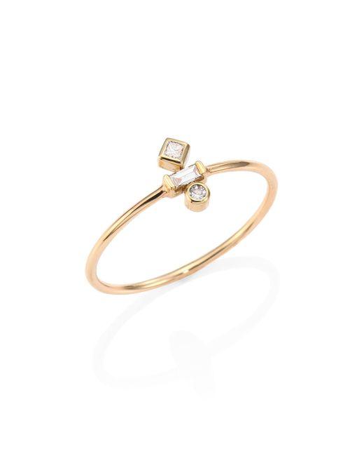 Zoe Chicco - Metallic Mixed Diamond & 14k Yellow Gold Ring - Lyst
