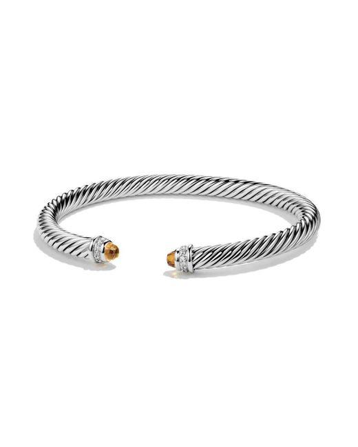 David Yurman - Metallic Cable Classics Bracelet With Citrine And Diamonds - Lyst