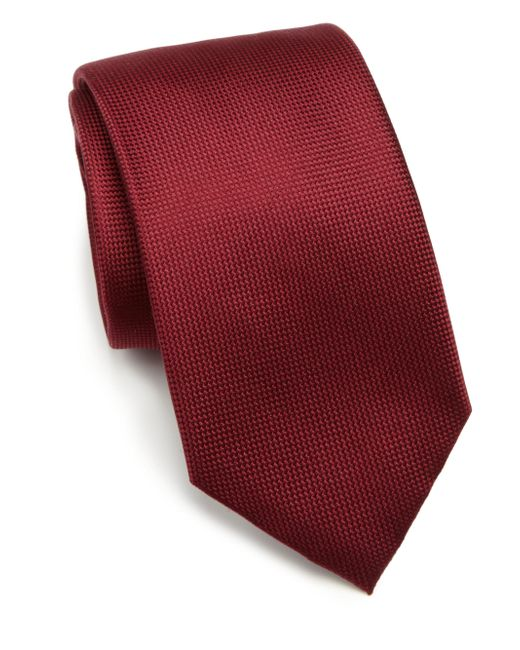 Saks Fifth Avenue - Red Solid Silk Tie for Men - Lyst