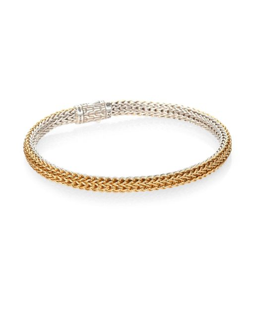 John Hardy - Metallic Classic Chain 18k Yellow Gold & Sterling Silver Extra-small Reversible Bracelet - Lyst