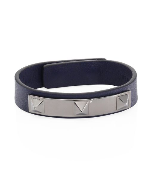 Valentino - Blue Studded Leather Bracelet for Men - Lyst