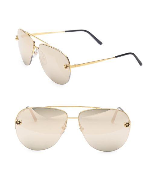 b71974223bdea Cartier - Metallic Women s Panthere Pilot Sunglasses - Gold - Lyst ...