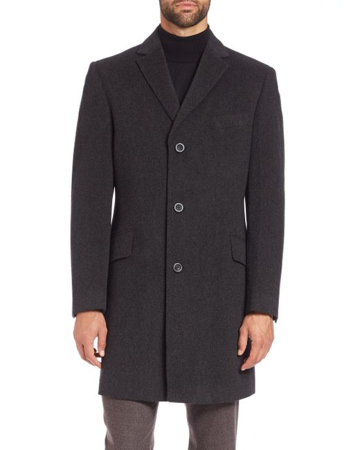 Saks Fifth Avenue | Gray Wool And Cashmere Coat for Men | Lyst