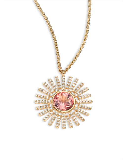 Astley Clarke | Metallic Rising Sun Diamond, Pink Tourmaline & 14k Yellow Gold Pendant Necklace | Lyst