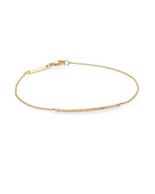 Zoe Chicco | Metallic Diamond & 14k Yellow Gold Thin Bar Bracelet | Lyst