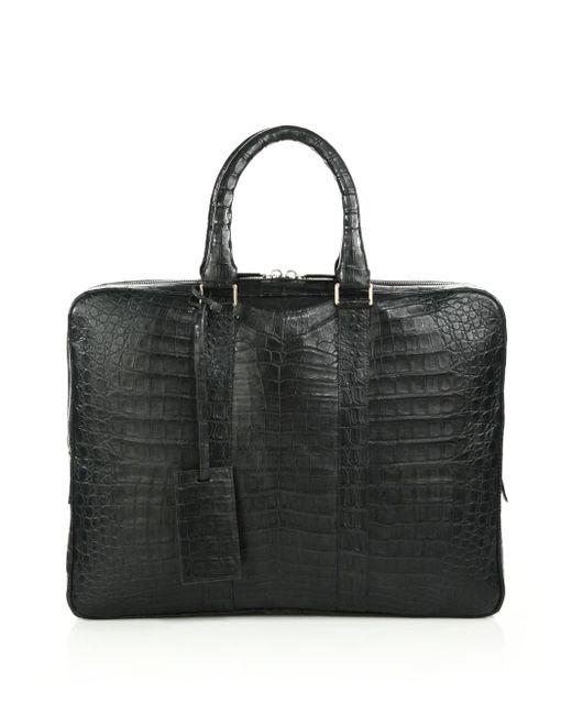 Santiago Gonzalez - Gray Crocodile Slim Briefcase for Men - Lyst