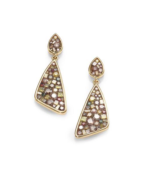 Plevé - Metallic Cinnamon Diamond & 18k Yellow Gold Mini Kite Earrings - Lyst