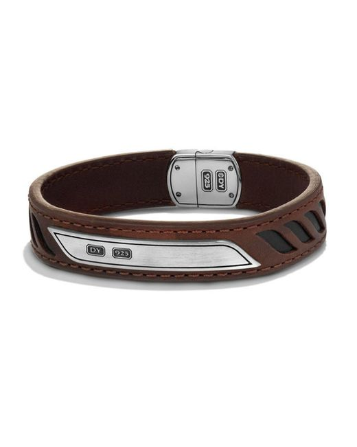 David Yurman   Brown Graphic Cable Leather Id Bracelet for Men   Lyst