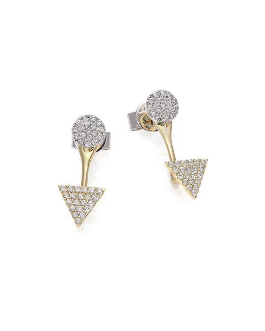 Meira T | Metallic Diamond, 14k White & Yellow Gold Ear Jacket & Stud Earrings Set | Lyst