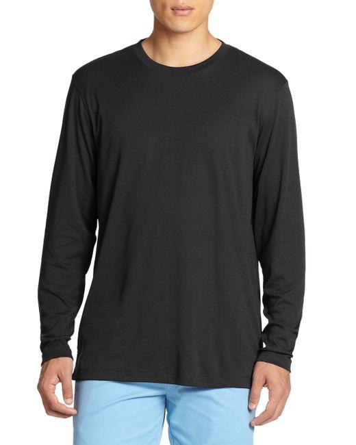 Saks Fifth Avenue | Black Long-sleeved Tee for Men | Lyst