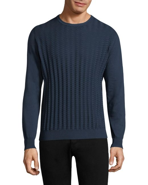 Corneliani - Blue Crewneck Cotton Sweater for Men - Lyst