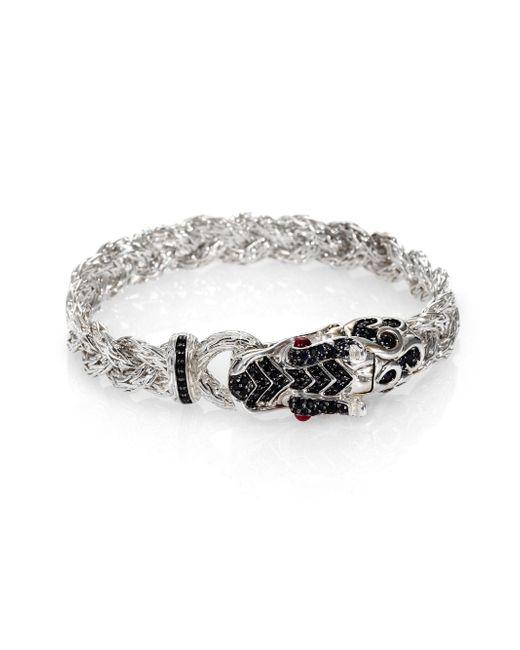 John Hardy - Metallic Naga Black Sapphire & Sterling Silver Dragon Braided Bracelet - Lyst
